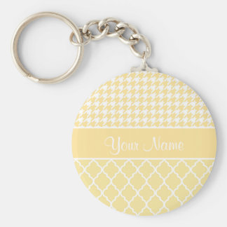 Houndstooth and Quatrefoil Yellow and White Keychain