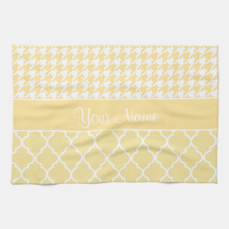 Houndstooth and Quatrefoil Yellow and White Kitchen Towel