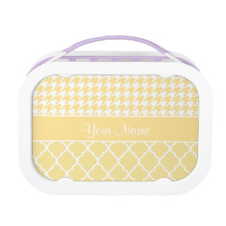 Houndstooth and Quatrefoil Yellow and White Lunch Box