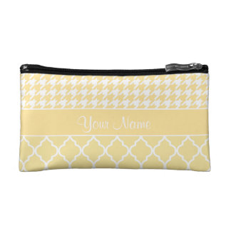 Houndstooth and Quatrefoil Yellow and White Makeup Bag