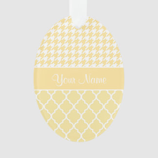 Houndstooth and Quatrefoil Yellow and White Ornament
