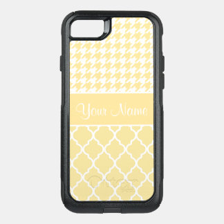 Houndstooth and Quatrefoil Yellow and White OtterBox Commuter iPhone 8/7 Case