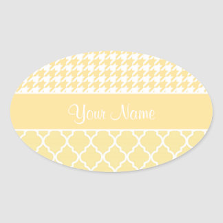 Houndstooth and Quatrefoil Yellow and White Oval Sticker