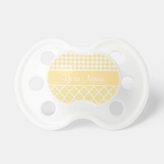 Houndstooth and Quatrefoil Yellow and White Pacifier