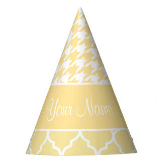 Houndstooth and Quatrefoil Yellow and White Party Hat