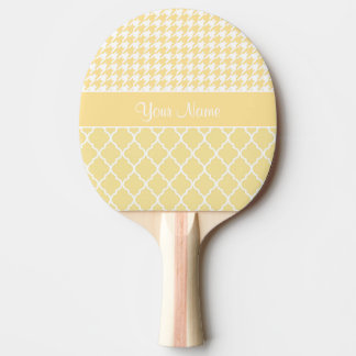 Houndstooth and Quatrefoil Yellow and White Ping Pong Paddle