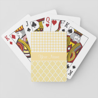 Houndstooth and Quatrefoil Yellow and White Playing Cards