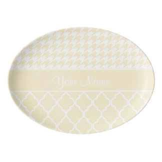 Houndstooth and Quatrefoil Yellow and White Porcelain Serving Platter