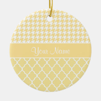 Houndstooth and Quatrefoil Yellow and White Round Ceramic Ornament