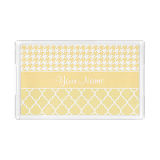 Houndstooth and Quatrefoil Yellow and White Serving Tray