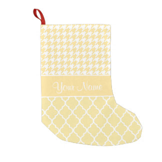 Houndstooth and Quatrefoil Yellow and White Small Christmas Stocking
