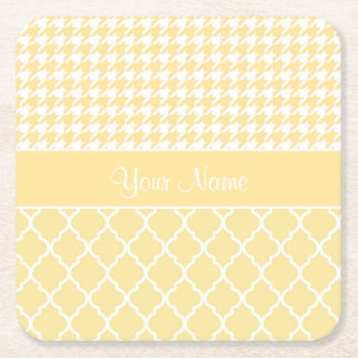 Houndstooth and Quatrefoil Yellow and White Square Paper Coaster