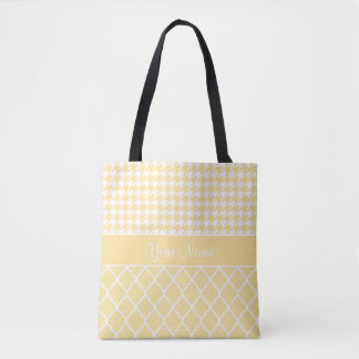 Houndstooth and Quatrefoil Yellow and White Tote Bag
