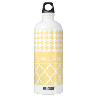 Houndstooth and Quatrefoil Yellow and White Water Bottle