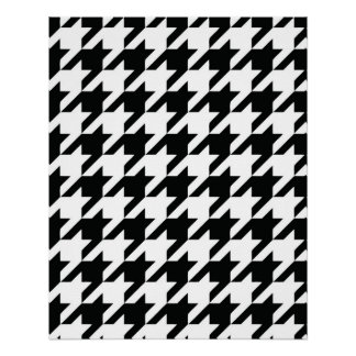 Houndstooth Black and White Classic Pattern Perfect Poster