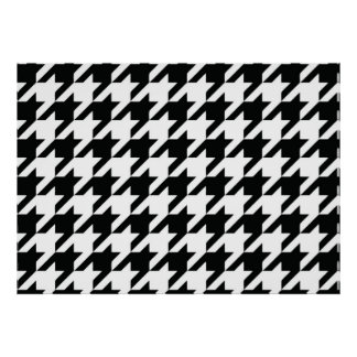 Houndstooth Black and White Classic Pattern Poster