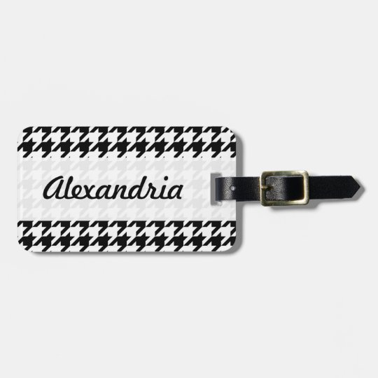 Houndstooth Black and White Decorative Art Pattern Luggage Tag
