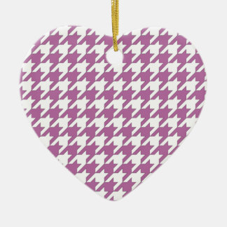 houndstooth bodacious and white ceramic heart ornament
