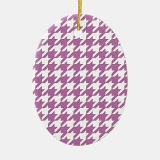 houndstooth bodacious and white ceramic oval ornament