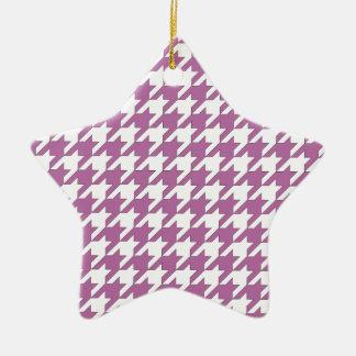 houndstooth bodacious and white ceramic star ornament