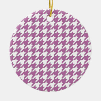 houndstooth bodacious and white round ceramic ornament