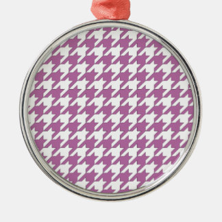 houndstooth bodacious and white Silver-Colored round ornament