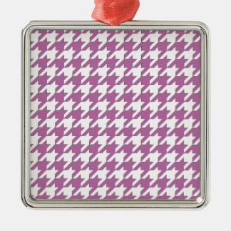 houndstooth bodacious and white Silver-Colored square ornament