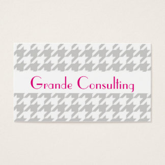 Houndstooth Business Card - Preppy Grey White