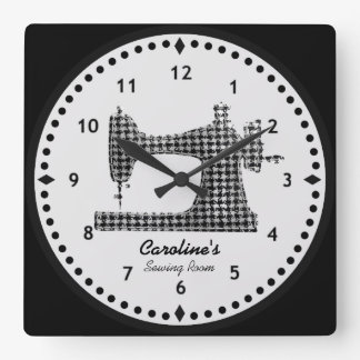 Houndstooth Check Sewing Machine Wall Clock