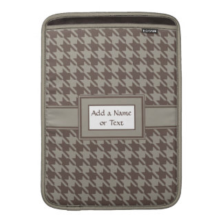 Houndstooth Checks Pattern in Grey Browns Sleeves For MacBook Air