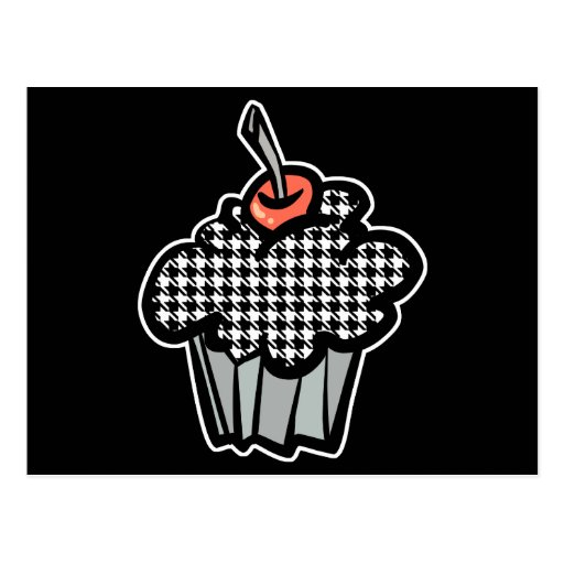 houndstooth cupcake postcards