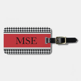 Houndstooth Custom Monogram Pattern | Red Luggage Tag
