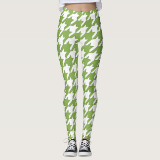 Houndstooth design in greenery and white leggings