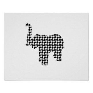 Houndstooth Elephant Poster