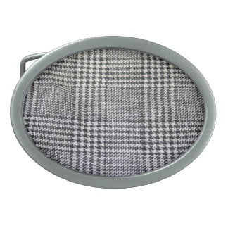 Houndstooth fabric oval belt buckle