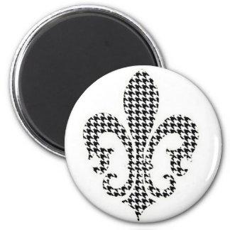 houndstooth fleur de lis 2 inch round magnet