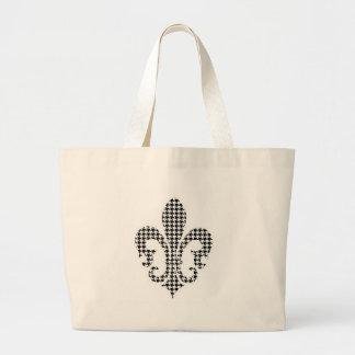 houndstooth fleur de lis sac en toile jumbo