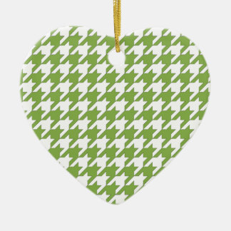 houndstooth greenery and white ceramic heart ornament