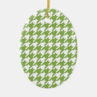 houndstooth greenery and white ceramic oval ornament