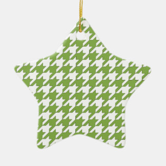 houndstooth greenery and white ceramic star ornament