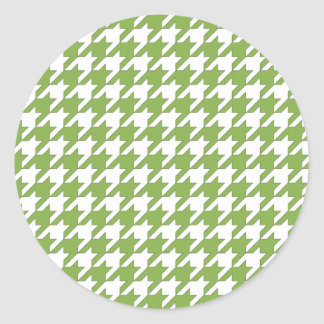 houndstooth greenery and white classic round sticker