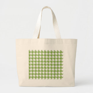 houndstooth greenery and white large tote bag