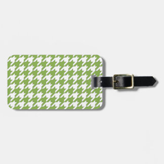 houndstooth greenery and white luggage tag