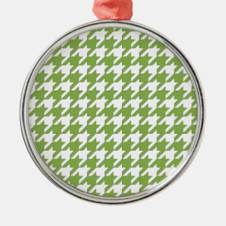 houndstooth greenery and white metal ornament