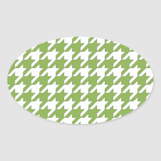 houndstooth greenery and white oval sticker