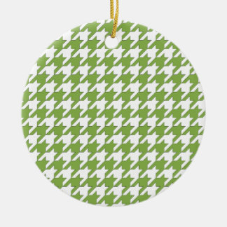 houndstooth greenery and white round ceramic ornament