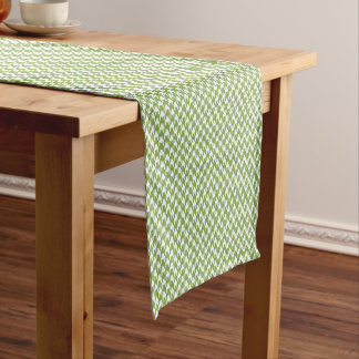 houndstooth greenery and white short table runner
