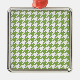 houndstooth greenery and white Silver-Colored square ornament