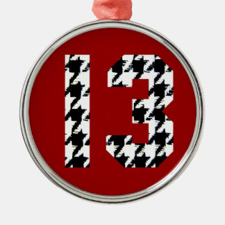 Houndstooth Lucky Number 13 Silver-Colored Round Ornament