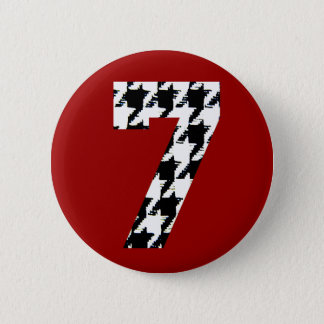 Houndstooth Lucky Seven 2 Inch Round Button